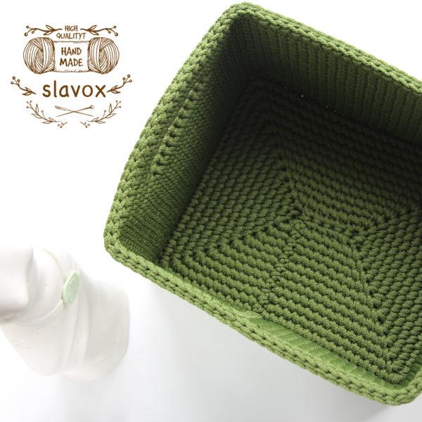 Прямоугольная корзинка с ручками из шнура